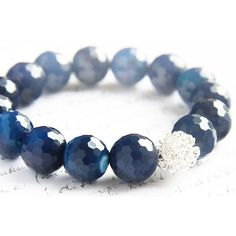 Royal Blue Agate Bracelet. Sterling Silver Wire Bead. Stacking... (185 RON) ❤ liked on Polyvore featuring jewelry, bracelets, sterling silver jewellery, wire bangles, polish jewelry, wire bead jewelry and sterling silver bangles