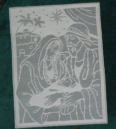 Heirloom Christmas Filet Crochet Pattern Mary Joseph and Baby Jesus PDF | eBay
