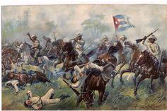 """Carga de la caballería insurrecta. Este tipo de carga al machete, al toque de """"deguello"""" fue efectiva en la guerra de Cuba de 1868 al 78, conocida como de los 10 años. Ya en la del 1895 al 1898 dejo de emplearse, ante la efectividad del fusil mauser de repeticion de las tropas españolas. Esta lamina tiene un pie que dice: """"Batalla de Desmayo, la """"Balaklava"""" cubana"""". Más en www.elgrancapitan.org/foro"""