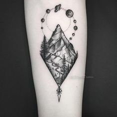 Black and grey ink mountain tattoo by David Boggins