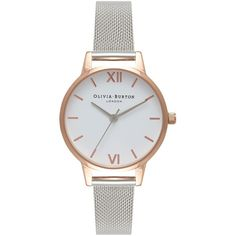 Olivia Burton OB16MDW02 Women's White Dial Mesh Bracelet Strap Watch (445 PLN) ❤ liked on Polyvore featuring jewelry, watches, white jewelry, dial watches, white faced watches, water resistant watches and sports watches