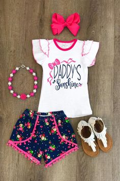 """Have your princess the star of the show in this adorable """"Daddy's Sunshine""""pom pom short set! Pom Pom's are all the rage right now! This look is so in! Made wi"""