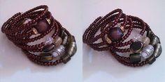 Brown memory wire bracelet, lampwork, glass beads by Natasa