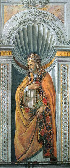Sandro Botticelli (Alessandro di Mariano di Vanni Filipepi) (1445 – 1510)  Pope Sixtus II  Fresco, 1481  Sistine chapel, Vatican
