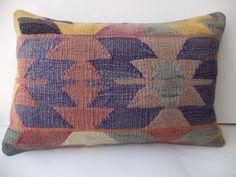 """Turkish Lumbar Pillow,24""""x16"""" inch Turkish Old Kilim Rug Pillow Cover,Anatolian Kelim Lumbar Pillow,Throw Pillow,Ethnic Pillow."""