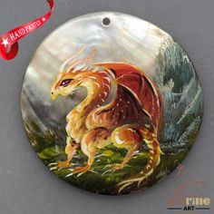 HAND PAINTED FLYING DRAGON MOTHER OF PEARL SHELL NECKLACE PENDANT ZL30 06403 #ZL #PENDANT