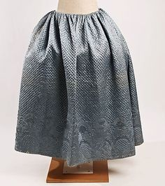 Petticoat  Date: 18th century Culture: French (probably) Medium: silk, cotton Dimensions: Length: 37 in. (94 cm) Credit Line: Gift of Mrs. John Stevens Melcher, 1957 Accession Number: C.I.57.45.2