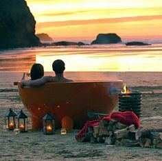 eco-friendly (wood burning fire) portable hot tub on the beach at sunset. Outdoor Tub, Outdoor Life, Outdoor Spaces, Studios, Wood Burning Fires, Luxury Camping, Luxury Travel, Jacuzzi, The Great Outdoors