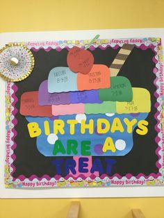 Sweet treat birthday bulletin board Preschool Birthday Board, Birthday Bulletin Boards, Birthday Wall, Preschool Bulletin Boards, Classroom Bulletin Boards, Classroom Decor, Preschool Behavior, Preschool Worksheets, Preschool Crafts