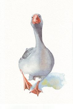 Goose Painting nature bird art print of by Splodgepodge on Etsy: