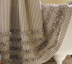 Ticking Stripe Ruffle Shower Curtain   Pottery Barn