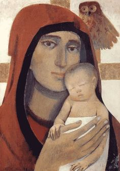 Our Lady and an owl. Religious Images, Religious Icons, Religious Art, Spiritual Paintings, Religious Paintings, Christian Images, Christian Art, Divine Mother, Mother Mary