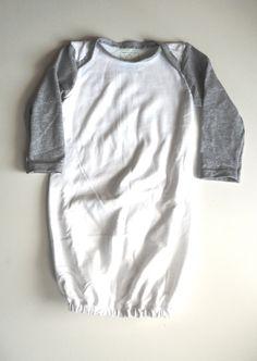 Upcycled newborn gown, sleep sack, Baseball tee @Candice Herod
