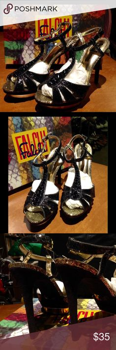"""Falchi """"NATALIE"""" Dress Heels Sz 9 Gorgeous Black and Gold Dress Sandals by Falchi.  They are a size 9, and are brand new / never worn.  They will ship with the box I received them in (the one indicated in the photo).  Heels are about 4-1/2"""" high.    These retail for $99.  Sure, if you catch them on sale you COULD pay $60-70 for them.  BUT, these are brand new and HALF off even what a """"sale"""" price would be!   (Stock location-R2/S4/ #A90050) falchi Shoes Heels"""