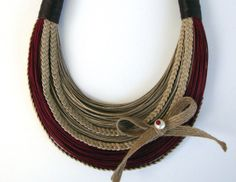 Natural Maroon and Brown Fiber Statement by superlittlecute