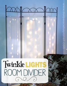 You can never have too many twinkle lights! Learn how to transform a plain room divider into something magical with some twinkle lights and safety pins! Diy Craft Projects, Home Projects, Crafts, Twinkle Lights, Twinkle Twinkle, Diy Room Divider, Room Dividers, Home Repair, Safety Pins