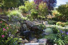 Декоративный пруд (55 фото): красота и комфорт своими руками http://happymodern.ru/dekorativnyj-prud-55-foto-krasota-i-komfort-svoimi-rukami/ Водоем, окруженный камнями, с водопадом в зеленом саду