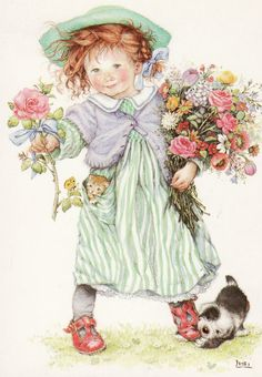 a ginger with her spring bouquet