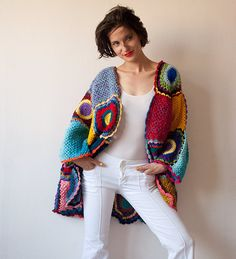 Plus Size Multicolor Crocheted Cardigan by subrosa123 on Etsy
