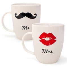 Mr. & Mrs. mugs. CUTE!
