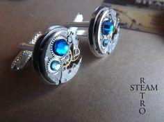 Gemelos con cristal Swarovski azul Steampunk / Steamretro, joyería steampunk - Artesanio
