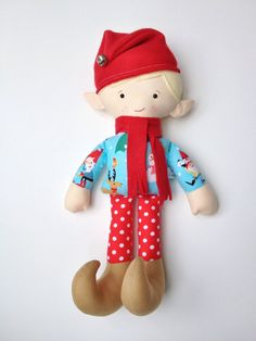 Christmas Elf Doll Elf Doll Plush Elf Elf Doll by LittleLuckies2
