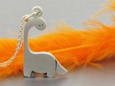 Dinosaur necklace, dinosaur pendant, sterling silver pendant with chain