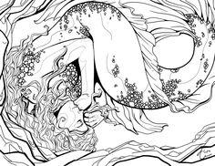Sleeping Mermaid Outline by AlexisUnderwood.deviantart.com on @deviantART