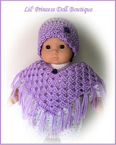 Made For  Bitty Baby, Crochet Lavender Poncho and Hat Set, 15 Inch, Handmade Doll Clothes. $8.50, via Etsy.