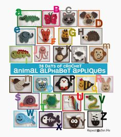 26 FREE animal applique crochet patterns, a full set of the alphabet for teaching crochet and creating cute designs.