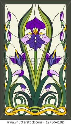 stock photo : Purple iris flowers/ Stained glass window