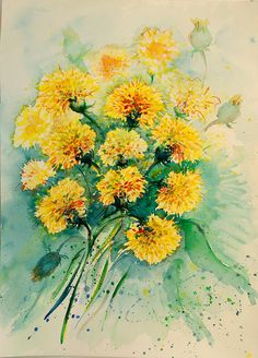 Yellow dandelions original watercolor painting Yellow by coloribli