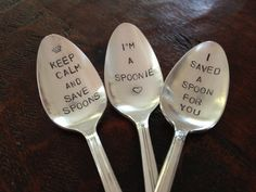 Spoonie Set of 3 - Hand Stamped Vintage Spoons - Recycled Silverware. A great gift for anyone who is putting up a good fight! Chronic Migraines, Chronic Fatigue, Chronic Illness, Chronic Pain, Endometriosis, Rheumatoid Arthritis, Spoon Theory, Chiari Malformation, Interstitial Cystitis