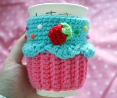 Cupcake Coffee Cup Cozy/Sleeve Blue/Dark pink by TwinkieChan, $20.00