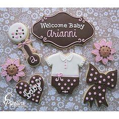 Baby Shower decorated sugar cookies - rattle, flower, onesie in pink, brown. Fancy Cookies, Cute Cookies, Cupcake Cookies, Galletas Decoradas Baby Shower, Galletas Cookies, Iced Sugar Cookies, Royal Icing Cookies, Baby Shower Cookies, Cookie Designs