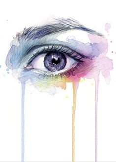 Eye Greeting Card featuring the painting Colorful Dripping Eye by Olga Shvartsur
