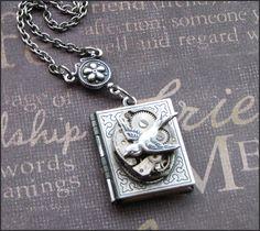 Silver Book Locket Necklace- Enchanted Sparrow's Book - Handmade by TheEnchantedLocket