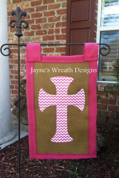 Burlap Flag with cross