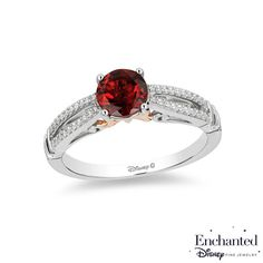 Enchanted Disney Snow White 6.0mm Garnet and 1/10 CT. T.W. Diamond Promise Ring in 10K Two-Tone Gold