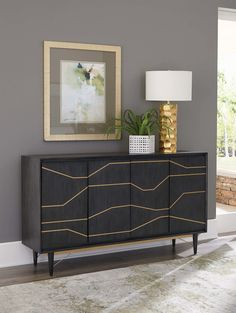 This Accent Cabinet by Scott Living is crafted from mahogany and knotty oak veneers in graphite finish with brass color inlays. Great to use in living room as an accent cabinet or pair with dining set as a server. Shown with Steele Dining Collection. Coaster Furniture, Art Deco Furniture, Fine Furniture, Accent Furniture, Furniture Deals, Bathroom Furniture, Stenciling Furniture, Console Furniture, Bathrooms Decor