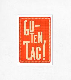 Guten Tag Orange Illustration print 827 x 1170 A4 by edubarba, €9.00