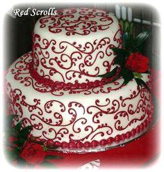 Red scrolls cake