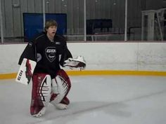 "Colin Catherman from Richmond, VA demonstrates ""the Machine Gun"" (Multiple T-Pushes along the Goalie Line) Hockey Drills, Hockey Memes, Hockey Goalie, Ice Hockey, Ice Rink, Hockey Stuff, Goalkeeper, Softball, Skating"