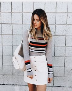 Cute striped sweater with white mini skirt. Cute striped sweater with white mini skirt. Fall Winter Outfits, Autumn Winter Fashion, Skirt Outfits, Cute Outfits, Style Personnel, Outfits Mujer, White Mini Skirts, Pinterest Fashion, Mode Style