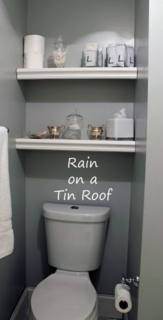 Built In Bathroom Shelving: Rain on a Tin Roof  For the downstairs bathroom.