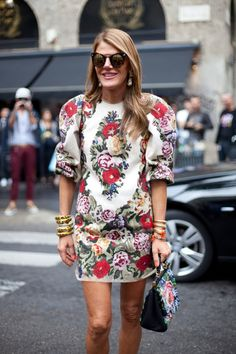 Street Style Tapestry Print Dresses Anna Dello Russo Editor Style Long Sleeve Short Tapestry Print Dress Floral Stacked Bangles Bracelets Ta...