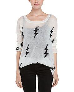 Dakota Collective Blaine White Lightning Bolt Print Sweater
