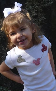 Truly stunning rhinestone necklace with three Minnie Mouse charms tshirt for your little glamour girl! This design is my personal favorite and my