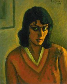 Czigány Dezső (1883-1938) Női portré, 1929 Olaj, falemez, 62x50 cm