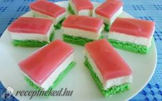 Magyar szelet recept fotóval 5 Ingredient Desserts, Different Cakes, Cake Bars, Cantaloupe, Jelly, Watermelon, Cake Decorating, Muffin, Food And Drink